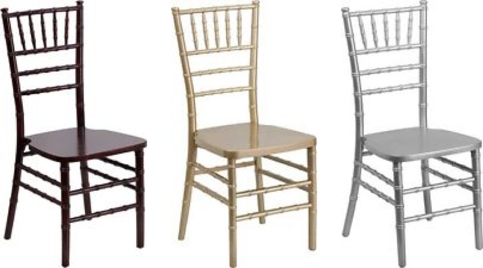 Chiavari Chairs available in Gold, Silver, and Mahogany